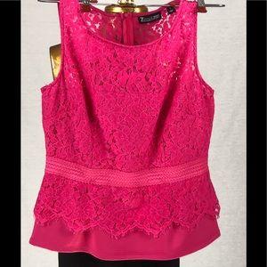 7th Ave Design Studio Sz S Hot Pink Peplum Top